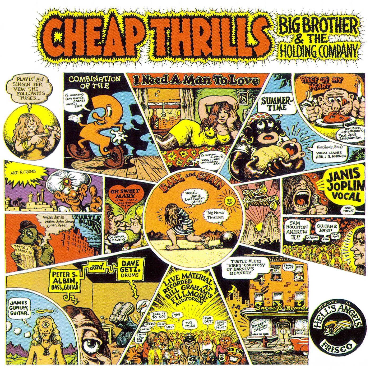 123 ROCK | Janis Joplin - Big Brother and the Holding Company - Cheap Thrills - Piece Of My Heart - 1968 | Big Brother and the Holding Company - 1966-1968 - Janis Joplin, Peter Albin, Sam Andrew, David Getz, James Gurley | Informations, Pochette d'Album, Video